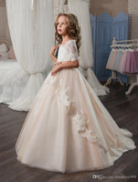 Wholesale boat neck wedding dress black ribbon online - 2017 Pink New Arrival Pageant Dresses for Girl Glitz Half Sleeves Appliques Boat Neck Ball Gown Flower Girl Dresses Vestidos Longo