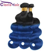 Wholesale Wet Wavy Ombre Weave - Dark Roots 1B Blue Ombre Weave Wet And Wavy Raw Indian Virgin Human Hair Bundles Body Wave Two Tone Colored Remy Hair Extensions