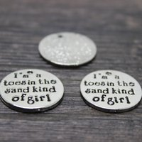 Wholesale letter k charms - 20pcs  22mm Alloy plating white k I'm Toes in the Sand Kind of Girl Charm pendant