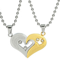 Wholesale Mens Model Korean - Mens Stainless Steel Chain Black Heart Love Necklaces for Couples Korean Ladies Fashion Trendy Paired Suspension Pendants Model