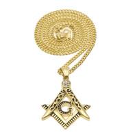 colar de compasso de ouro venda por atacado-Chegada nova Iced out 18 K Ouro Maçom Maçônica Pingente Compass Mason Maçonaria Hip Hop Colar Para Homens / Mulheres