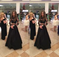 Wholesale Teens Sexy Satin - 2017 New Sexy Black Two Pieces Prom Dresses Long Sleeves Lace Satin Formal Evening Gowns Sexy Sheer Illusion Prom Gowns For Teen