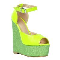 ingrosso pompe a punta verde-Zandina Womens Fashion Handmade 15cm Wadge Heel Patchwork in pelle Peep Toe Pumps Party Dress Shoes Verde XD113