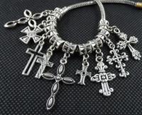 Wholesale Tibetan Mixed Silver Charms Wholesale - 100PCS mixed Tibetan Silver alloy Cross Charms Pendant Dangle Beads Fit European Jewelry Making Bracelet
