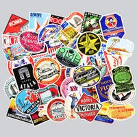 Wholesale Retro Luggage - 50 Pcs Retro Style Travel Hotel Logo Paris Rome Trip Luggage Stickers for Laptop Luggage Toy Waterproof Decal Creative Sticker