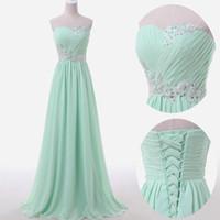 Wholesale Mint Chiffon Shirt - 2018 Mint Bridesmaid Dresses Sweetheart Neckline pleats lace appliques beading sequins long chiffon bridesmaid dress cheap
