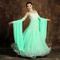 Wholesale professional ballroom dresses - Ballroom Competition Dance Dress 2017 Mint Green Modern Waltz Tango Standard Dress Professional Ballroom Pearl Dance Dresses Costumes FN117