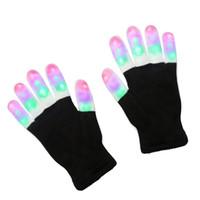 rave handschuhe großhandel-LED-Blitz Handschuhe fünf Finger Licht Geist Tanz Black Bar Bühne Leistung bunte Rave Light Finger Beleuchtung Handschuhe Glow Flashing