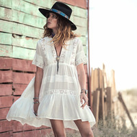 Wholesale Short White Lace Dress Vneck - Wholesale- Casual Loose Fit Summer Dress women white cotton mini dresses Vneck embroidery Lace fashion bohemian style hippy gypsy girl new