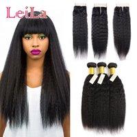 Wholesale italian yaki bundles closure for sale - Group buy Brazilian Human Hair Kinky Straight Hair With Closure Bundles Italian Coarse Yaki With X4 Free Closure