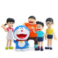 Wholesale Portrait Family - 5pcs lot Creative Micro Garden Landscape Decoration Props Doraemon Family Portrait PVC Action Figures Toy Kid Christmas Gifts