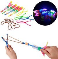 Wholesale Lighted Slingshot Helicopter - 25pcs lot Luminous Big Sling shot Catapult Arrows Flying Fairies Flash Helicopter Flying LED Light Emitting Slingshot Children's Toys
