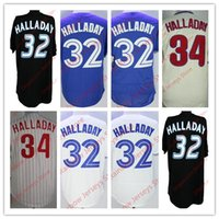 46a21537971 Wholesale Toronto Roy Halladay Philadelphia Black White Pinstripe Cream  Royal Blue White Mens Stitched Baseball Jerseys