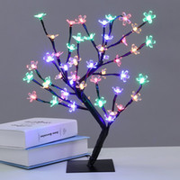Wholesale Led Cherry Tree Decoration - 45CM 48LEDs Cherry Blossom Tree Lights LED Flower Tree Light Desk Top Bonsai Tree Light Wedding Christmas Indoor Outdoor Decoration Lamp