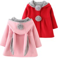 Wholesale Hooded Rabbit Fur - Cute Rabbit Ear Hooded Girls Coat New Spring Top Autumn Winter Warm Kids Jacket Outerwear Children Clothing Baby Tops Girl Coats