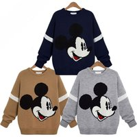 Wholesale Hooded Lady Sweater - Wholesale- New 2016 winter women ladies mickey knit sweater Cute Cartoon O-neck Long Sleeve Loose Casual Pullover jumper femme
