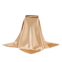 Wholesale Large Satin Scarves - Wholesale- 2017 90cm Large Imitated Silk Square Scarf Women Luxury Brand Shawl and Scarves Satin Polyester Plain Solid Ladies Hijabs Stoles
