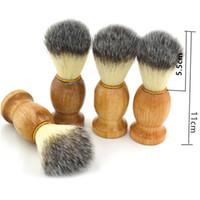 Wholesale Razor Gift - Barber Hair Shaving Razor Brushes Natural Wood Handle Beard Brush For Men Best Gift Barber Tool