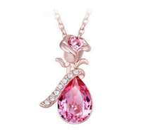 Wholesale Tear Crystal Water Drop Necklace - Fashion Austria Crystal Rose Angel Tears bow water drop necklace