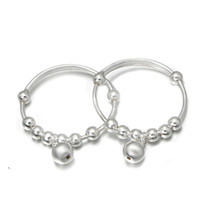 Wholesale Bracelet Children Bell - Fashion 925 Silver Bangle Lovely Children Luck bead Bangle Bracelet Gift Lucky Newest Bells Bangle BC00330