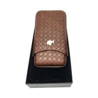 портативная сигара с хьюмидором оптовых-Портативный портсигар COHIBA 3 Tube Коричневый сшитый кожаный футляр для сигарет Портсигар Travel Humidor Box