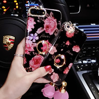 Wholesale Plastic Flower Rings - 2017 NEW Ring Grip Bling Flower Pattern Case For iPhone 6 6s Plus 7 7 Plus Soft TPU Back Cover Cases Glitter Rose Capa Fundas