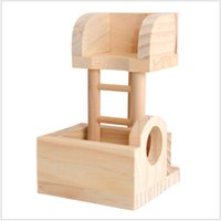 Wholesale Cream Furniture - Group Hamster Lookout Platform Small Pet Lookout Tower Woodiness Toys Furniture Three Line Cream Can Customized 35sets