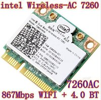 Großhandel-neue Intel Dual-Band Wireless-AC 7260 ac7260 7260HMW AC 7260 802.11ac MINI PCI-E Karte 2.4G / 5G Dual Band 2x2 WiFi + Bluetooth 4.0