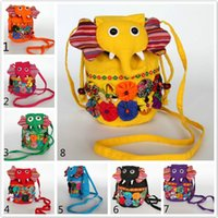 Wholesale Cloth Phone Bags - Ethnic Style Flower cloth bag Women Bag Handmade Elephant Pattern Baby Girl Shoulder Bags