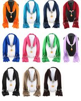 Wholesale jewelry green wax for sale - Tassel scarf polyester accessories jewelry pendant scarf alloy resin wax pendant necklace scarves for women colors