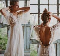 Wholesale Dot Wedding Dress Vintage - 2018 Vintage Western Country Style Lace Dot Tulle Long Wedding Dresses V Neck Half Sleeves Backless Bohemia Wedding Dresses For Beach Summer