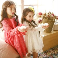 Wholesale Gown For Korean Princess - Korean Children clothes 2017 autumn outfit big girl lace dress for party princess skirt with long sleeve white pink gown