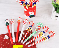 Wholesale Birthday Party Prizes - Candy Cane Pen Christmas party dolls polymer clay ballpoint pens children kids prize festive XMAS birthday back to school Favor gift