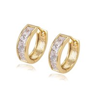 Wholesale Low Priced Hot Plates - Xuping Hot Item Mix Color Zirconia Mosaic Huggie Lady Earhoop for Party Low Price Fashion 14K Gold Plated Copper Earrings DH-15-14K0012
