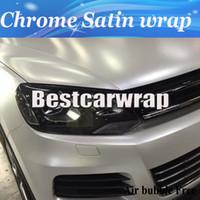 Wholesale Vinyl Flashing - Premium Flash White Chrome Satin Car Wrap Vinyl styling Foil satin - Chrome Vehicle WRAPPING skin Luxury wraps stickers size 1.52x20m Roll
