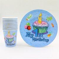 Wholesale Blue Paper Plate - Wholesale-20pcs kids boys blue 1st happy birthday party set favors disposable decorations paper plates +paper cups glass party supplies