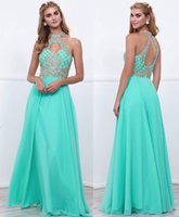 Wholesale Lace Bodice Special Occasion Dresses - high neck beaded bodice cutout back long prom dresses 2017 A-line floor length skirt special occasion dresses