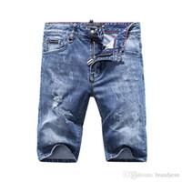 Wholesale Men Jeans Work - SS17 Summer pp854 Skinny Zipper Fly Mens Jeans Micro-elastic Denim Desinger Slim Top quality holes MENS JeansItalian trend Designer workS