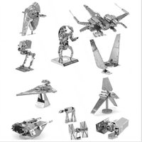 Wholesale Star Wars D Metal Puzzles DIY Model Building Toy X wing AT AT R2D2 Fighter Millennium Falcon Model Toys Robot Children Gift