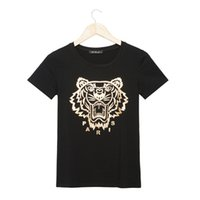 Wholesale T Shirt Plus Size Tiger - Wholesale-New 2016 Hot Sell Gold Tiger print Women's T shirt Fashion Brand White Cotton Short Sleeve Tees Tops for Women t-shirt Plus Size