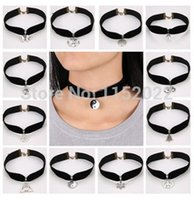 Wholesale Gothic Earrings For Sale - 2PCS Winter SALE 80's 90's inspired Plain Black Velvet Ribbon Choker Necklace Gothic Handmade With Charm Gothic Emo For Women