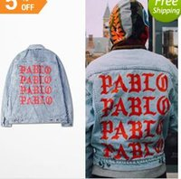 Men square hole sleeves - 2017 KANYE WEST SEASON oversized PABLO men Jackets broken hole jean coat HIPHOP Motorcycle jacket men Jeans denim jacket