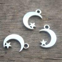 antik ay pendant toptan satış-35 adet-Ay ve Yıldız Charms, Antik Tibet Gümüş Ay ve Yıldız charm Kolye 17x11mm
