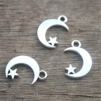 Wholesale Tibetan Silver Pendants Moon - 35pcs- Moon and Star Charms, Antique Tibetan Silver Moon and Star charm Pendants 17x11mm