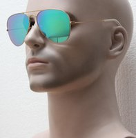 Wholesale Coat Colorful Men - Drop shipping , strong and durable matte golden frame colorful flash sunglasses,handmade coating glass cool sunglasses women winter style