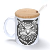 Ceramic owl mugs - Retro owl Mug Coffee Milk Ceramic Cup Creative DIY Gifts Mugs oz With Bamboo cover lid Spoon S159