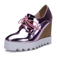 Coins En Or Rose Pas Cher-Bling Patent Leather Oxfords 2017 Wedges Gold Silver Plateforme Chaussures Femme Casual Creepers Rose High Heels High Quality
