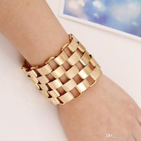 Punk Gold Color Pulseira Alloy Big Maxi Simples Vintage Ethnic Joker Stainless Steel Geometric Jypsy Silver Plated Bracelets Moda feminina