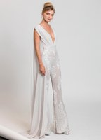 Wholesale Embroidered Evening Dresses Gown - white jumpsuit evening gowns 2017 tony ward dress for evening ready to wear deep V neckline and embroidered tulle trousers