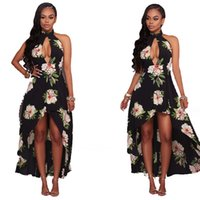 Wholesale Unique Maxi Dresses - New Arrival unique Beach Maxi Dresses Glamorous Sexy Halter Flower Printed Pageant Sleeveless Gowns Evening dresses